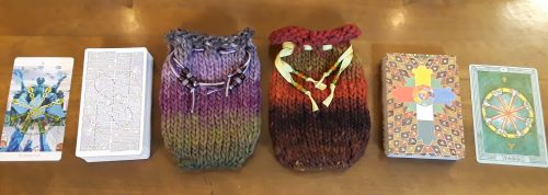 two bags from the Four of Wands Tarot Bag Knitting Pattern