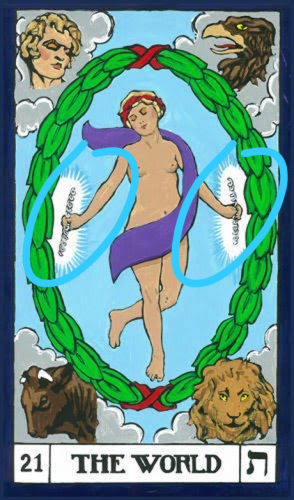 The dancer in the BOTA version of the World card holds a spiral wand in each hand.