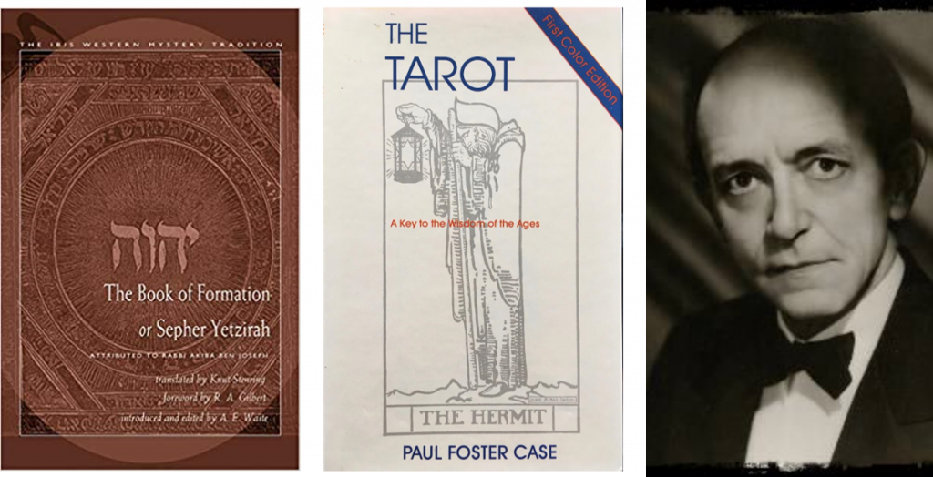 Cover of Sepher Yetzirah trans. Stenring, cover of The Tarot by Paul Foster Case, headshot PF Case.