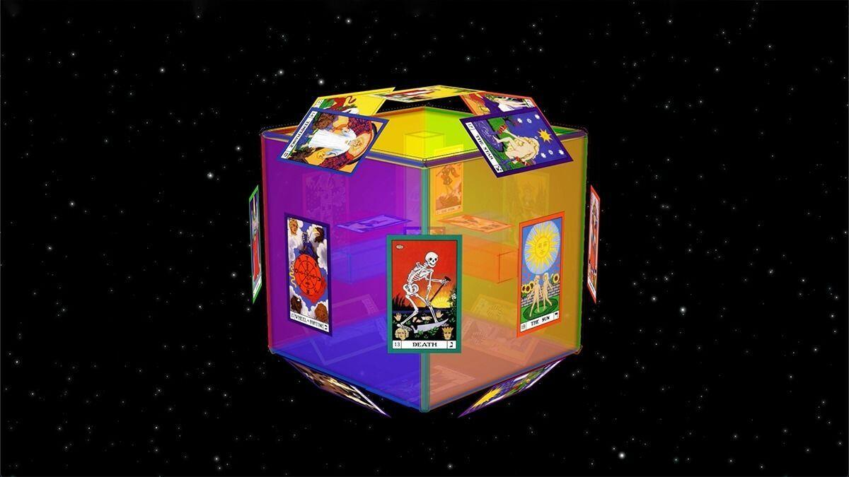 The 22 Major Arcana cards of the tarot fit onto the 3 dimensions, center and six sides, and twelve edges of the Cube of Space.
